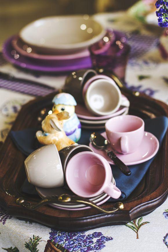 Набор чашек с блюдцами Comtesse Milano Ritmo бежевый  90 мл 6 шт.  - фото
