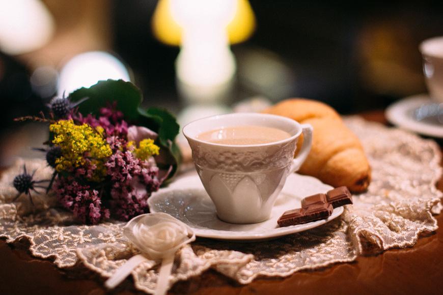 Чашка с блюдцем для кофе с рельефным узором Crema  - фото
