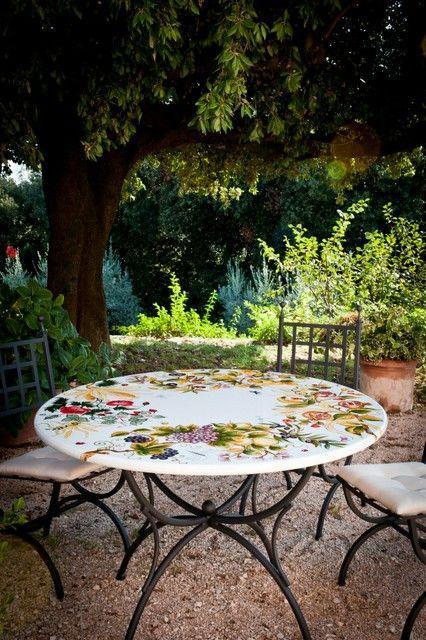 Стол из натурального камня с ручной росписью на керамическом покрытии Inglese  - фото