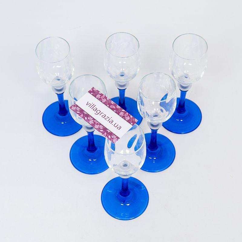 Набор из 6-ти бокалов для крепких напитков на синих ножках  - фото