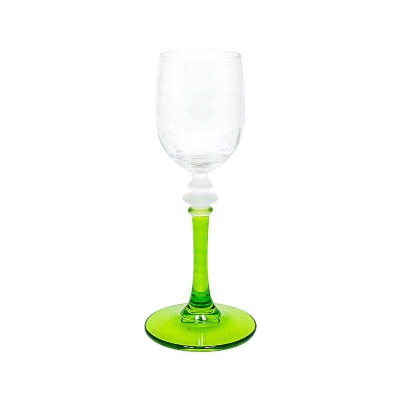 Набор из 6-ти бокалов для крепких напитков на зеленых ножках  - фото