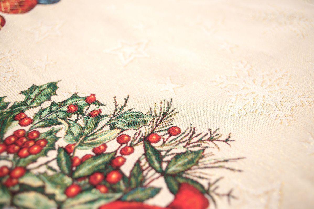 """Гобеленовая нарядная скатерть с люрексом """"Новогодняя гирлянда"""" Villa Grazia Premium  - фото"""