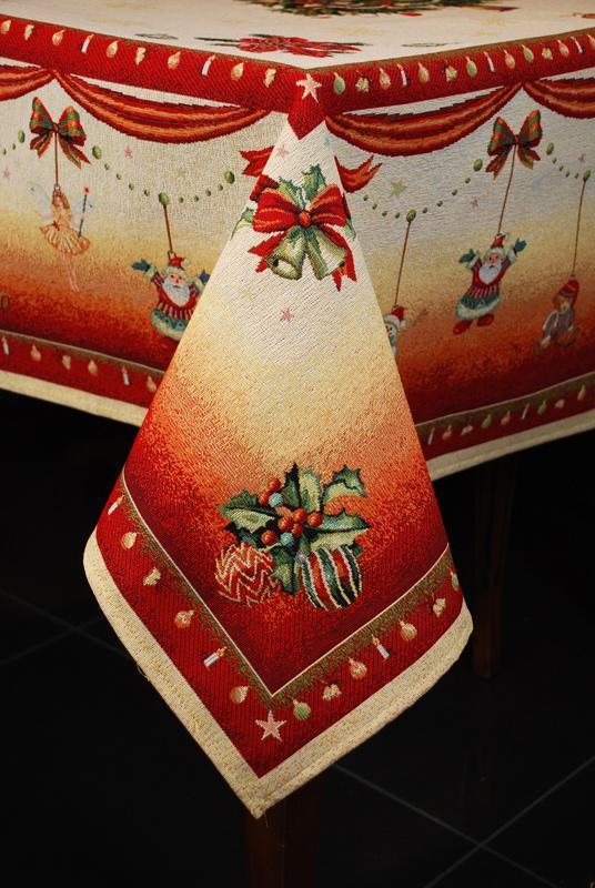 """Гобеленовая яркая скатерть с изображением ёлочки """"Праздничная фантазия""""  - фото"""