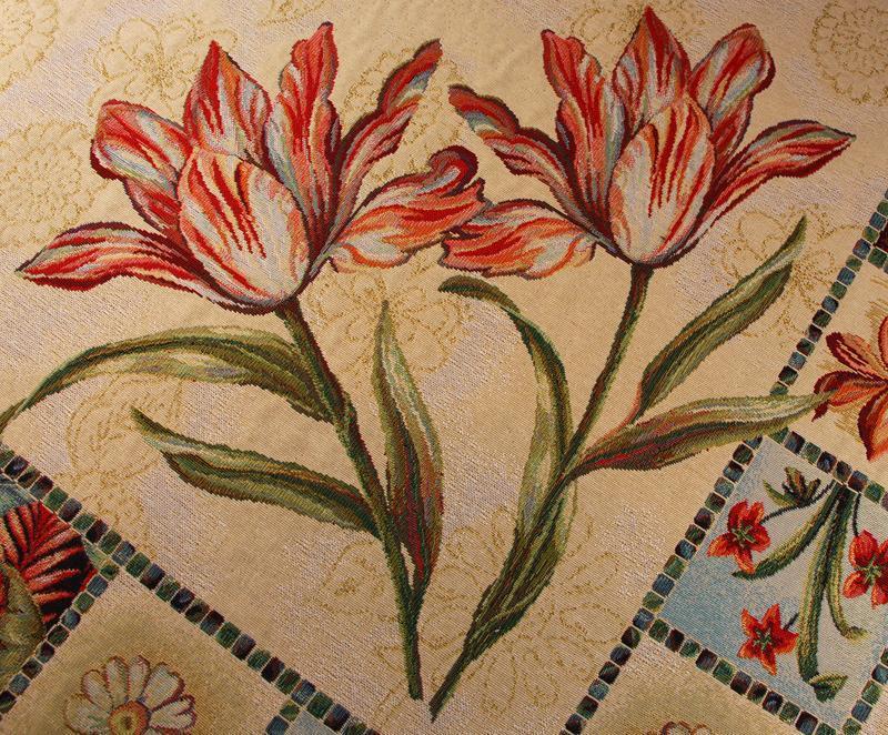 """Гобеленовая скатерть с растительным рисунком """"Гербарий""""  - фото"""