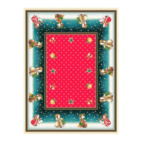 """Гобеленовая праздничная скатерть с красным фоном """"Дедушка Мороз""""  - фото"""