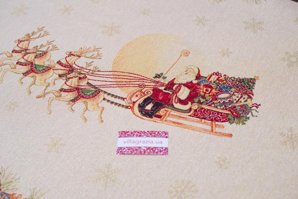 """Прямоугольная гобеленовая скатерть с новогодним рисунком """"Пэчворк""""  - фото"""