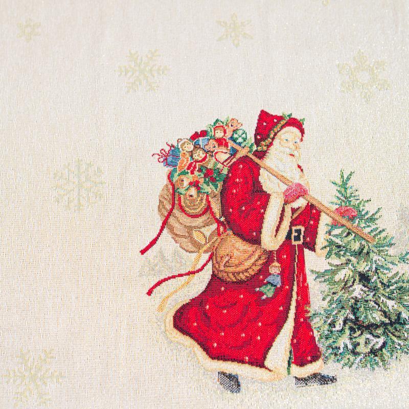 """Квадратная скатерть из гобелена с новогодним рисунком """"Пэчворк""""  - фото"""