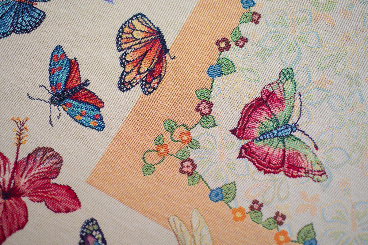 """Скатерть из гобелена с цветами и бабочками """"Летний день""""  - фото"""