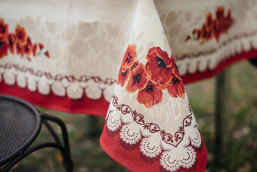 """Гобеленовая скатерть с цветочным рисунком и широкой каймой """"Маки""""  - фото"""