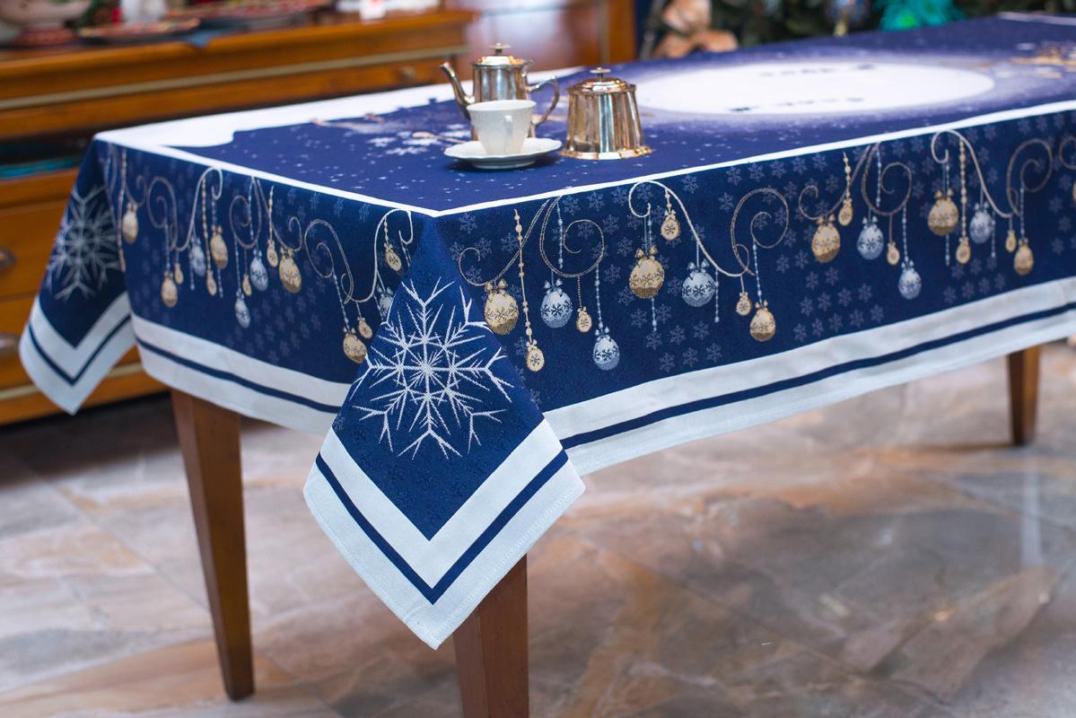 """Синяя скатерть из коллекции новогоднего гобелена """"Северное сияние""""  - фото"""