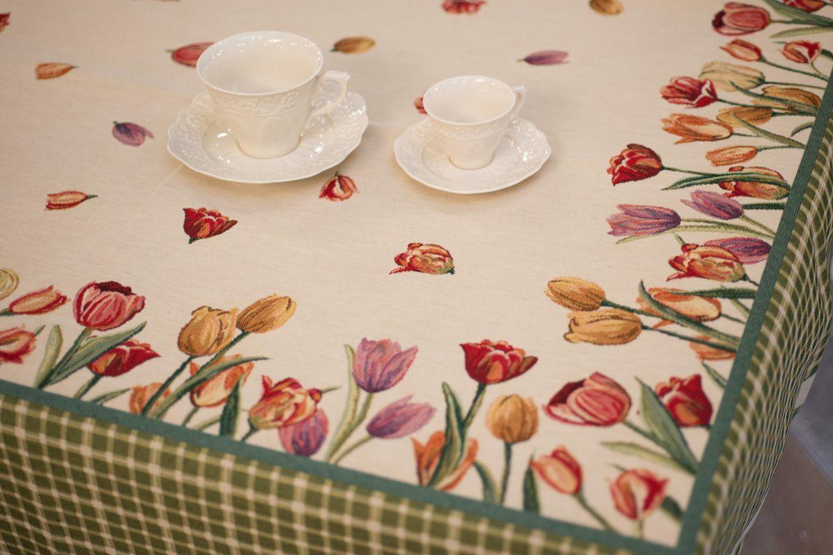 """Гобеленовая скатерть на стол """"Весенние тюльпаны""""  - фото"""