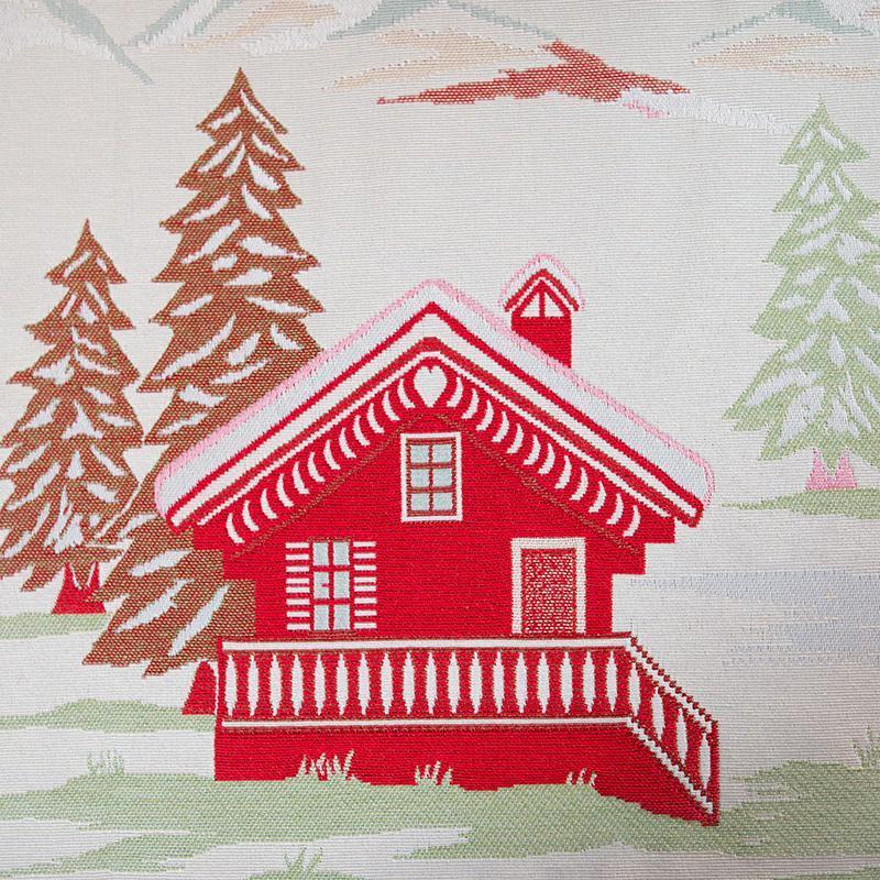 """Светлая гобеленовая скатерть с нежным рисунком """"Рождество в шале""""  - фото"""