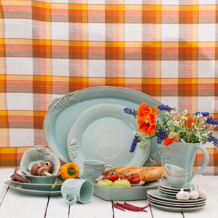 Тарелка обеденная бирюзовая в стиле кантри Mediterranea  - фото