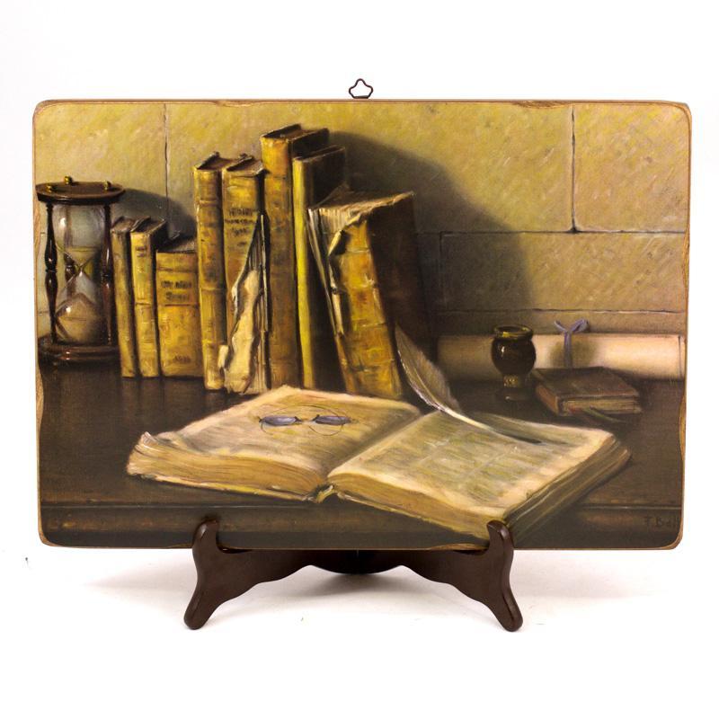 Комплект интерьерных деревянных картин «Книги», 2 шт.    - фото