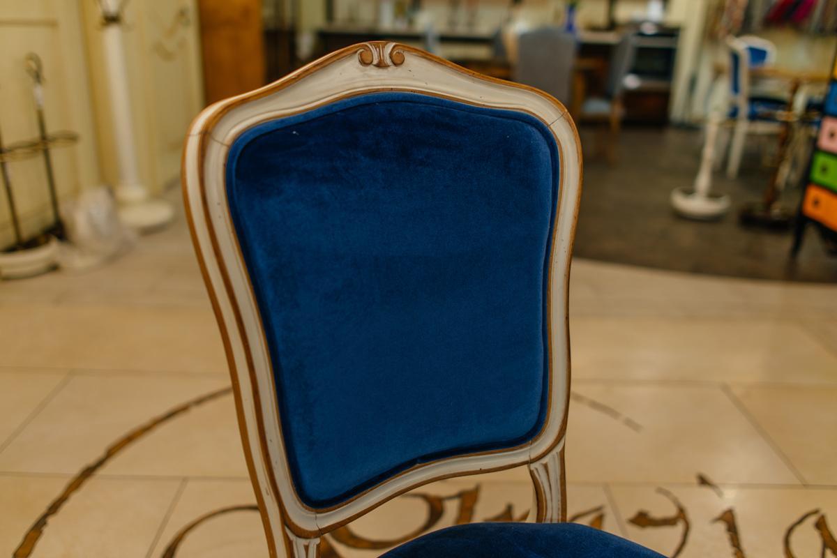 Элегантный стул с сиденьем и спинкой, обитыми синим бархатом Rafael  - фото
