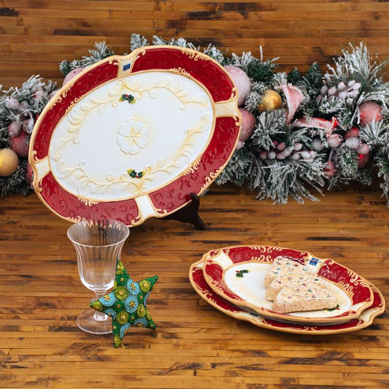 """Набор """"Рождественский"""" из 3 овальных блюд""""  - фото"""