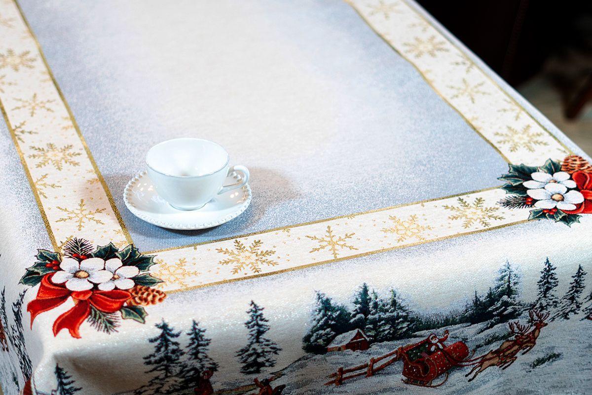 """Гобеленовая скатерть с люрексом для зимней сервировки """"Снежные забавы"""" Villa Grazia Premium  - фото"""