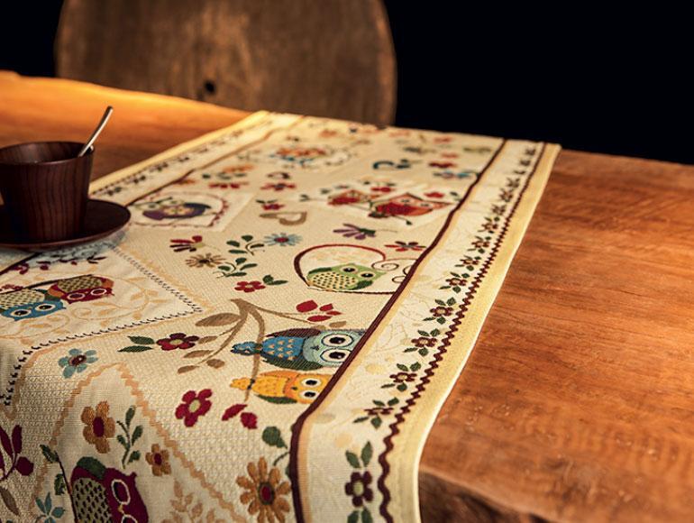 """Раннер из прочного гобелена с ярким рисунком """"Мудрая сова""""  - фото"""