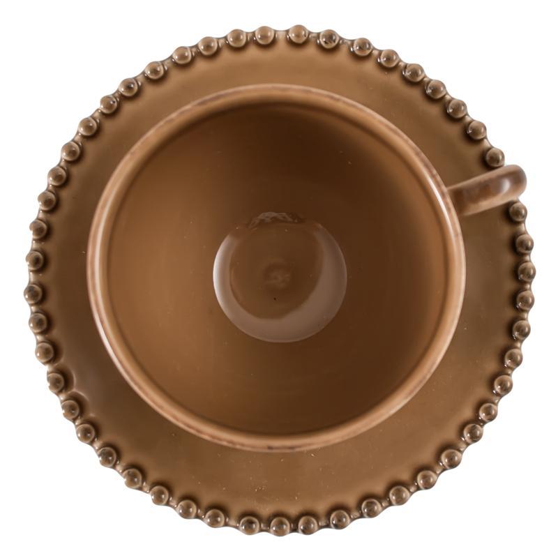 Чайная чашка с блюдцем цвета кофе с молоком Pearl  - фото