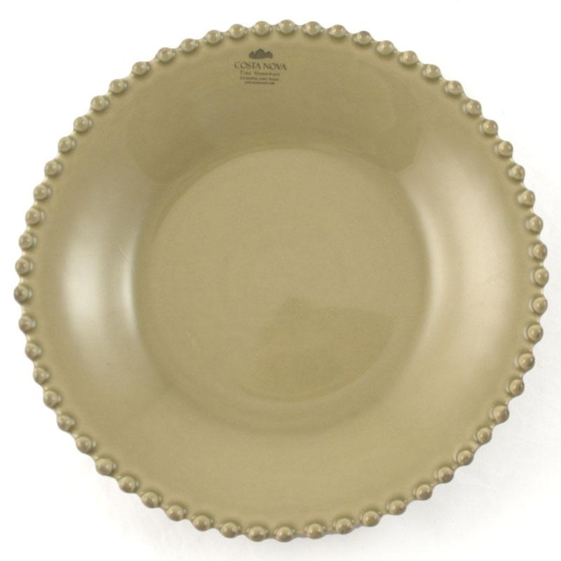 Тарелка для супа керамическая оливкового цвета Pearl  - фото