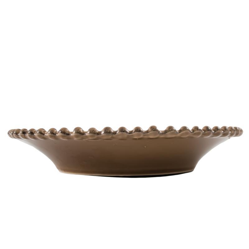 Тарелка суповая керамическая шоколадного цвета Pearl  - фото