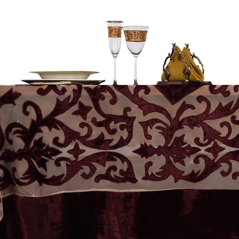 Бордовая скатерть барокко Royal Family  - фото