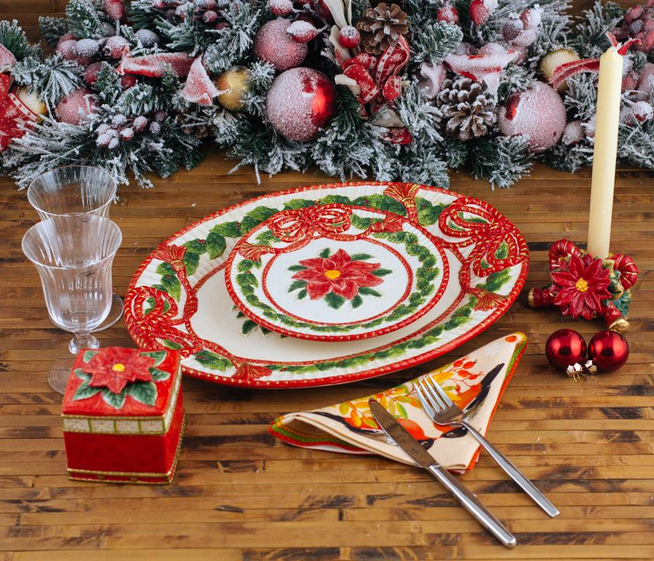 """Яркая нарядная посуда к Новогоднему столу """"Рождественская роза""""  - фото"""