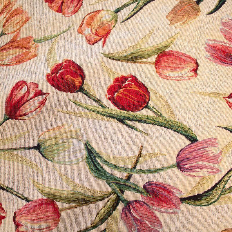 """Круглая скатерть из гобелена со сплошным цветочным узором """"Тюльпановое поле""""  - фото"""