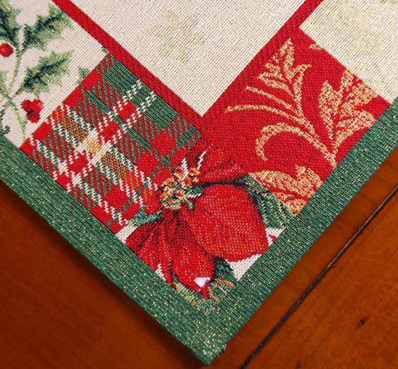"""Красочный гобеленовый раннер с люрексом для новогоднего стола """"Пэчворк""""  - фото"""