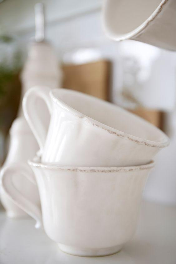 Набор из 6-ти чашек с блюдцами белого цвета Impressions  - фото