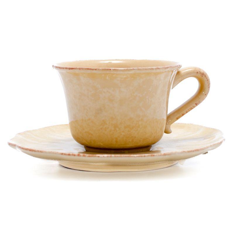 Набор желтых чашек с блюдцами Impressions, 6 шт  - фото