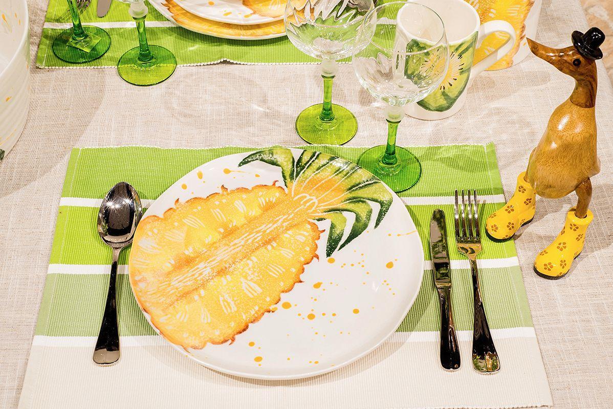 """Тарелка обеденная с сочным рисунком """"Фруктовый коктейль""""  - фото"""