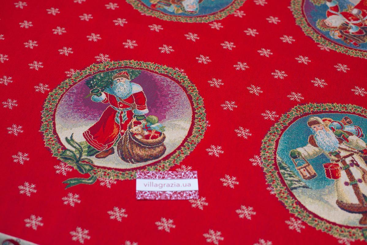 """Нарядная новогодняя скатерть из красочного гобелена """"Дед Мороз""""  - фото"""