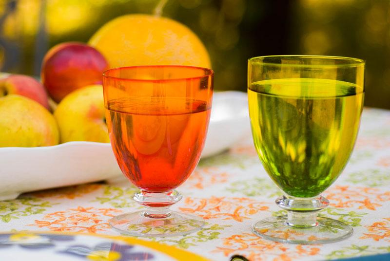 Набор из 6-ти оранжевых стеклянных бокалов для вина Tahiti  - фото