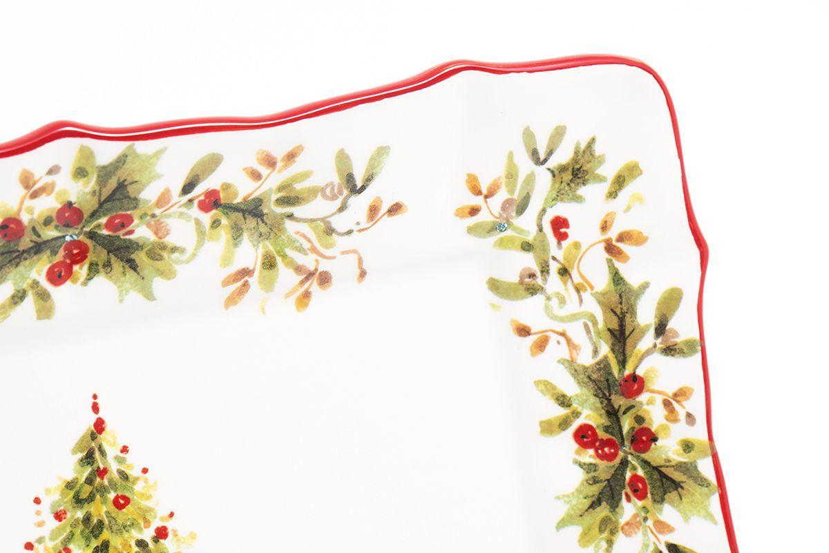"""Прямоугольное блюдо из итальянской керамики """"Новогодняя красавица"""" Villa Grazia  - фото"""