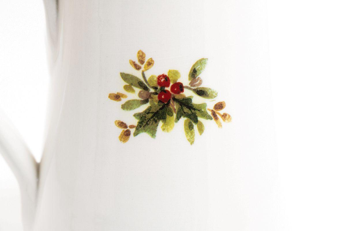 "Кувшин керамический белый с ярким рисунком ""Новогодняя красавица"" Villa Grazia  - фото"