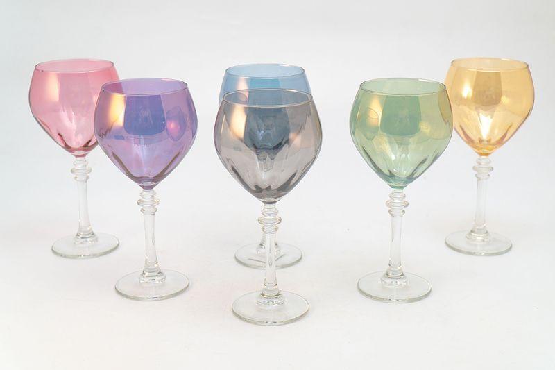 Набор разноцветных бокалов для воды, 6 шт  - фото