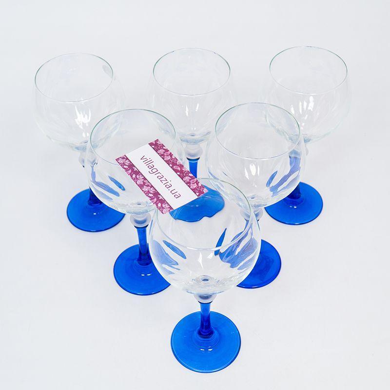 Набор бокалов на синих ножках для воды, 6 шт  - фото