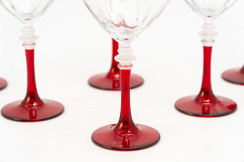 Набор бокалов на красных ножках для воды, 6 шт  - фото
