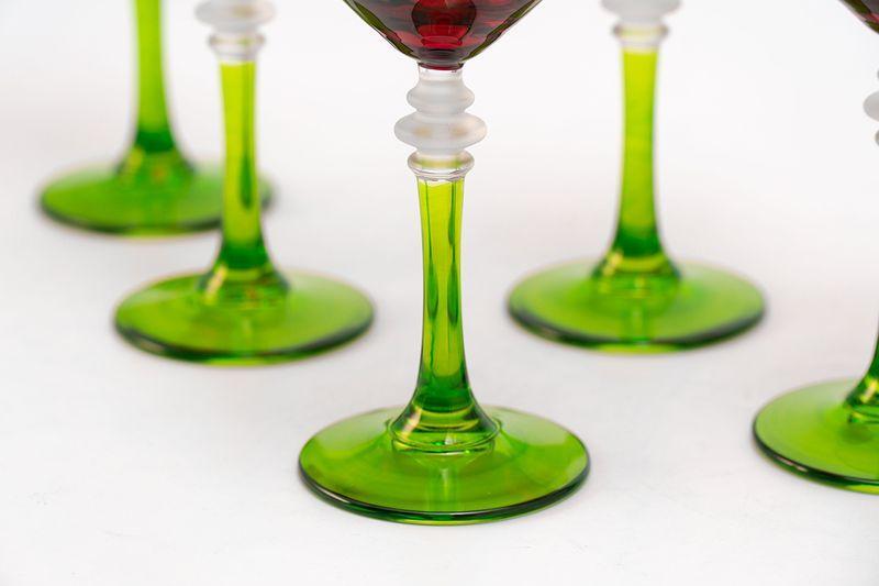 Набор красно-зеленых бокалов для воды, 6 шт  - фото