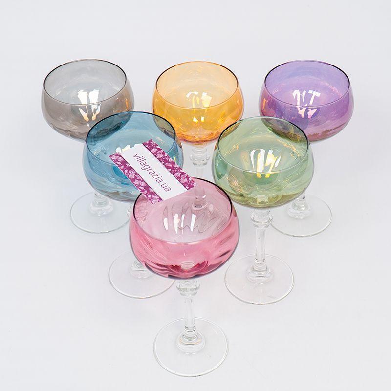 Набор разноцветных бокалов для вина, 6 шт  - фото