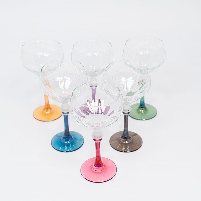 Набор из 6-ти бокалов на разноцветных ножках для вина  - фото
