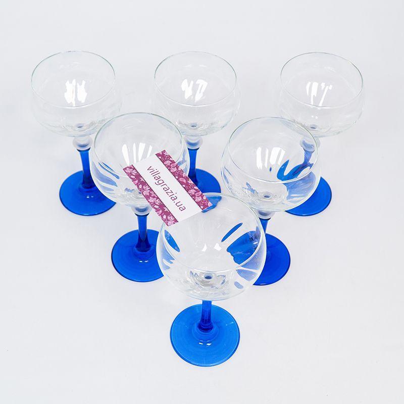Набор из 6-ти бокалов на синих ножках для вина  - фото