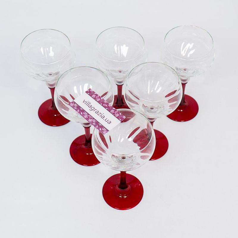 Набор из 6-ти бокалов на красных ножках для вина  - фото