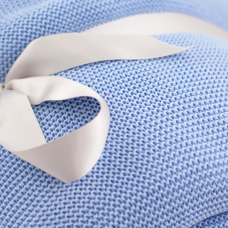 Плед большой голубой шерсть-акрил  - фото