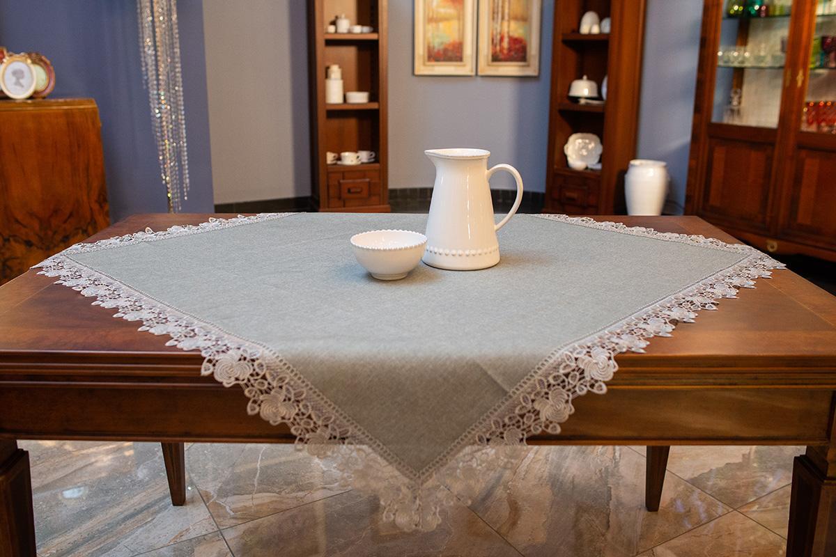 Серая скатерть-наперон из практичного полотна с кружевной отделкой «Гармония»  - фото