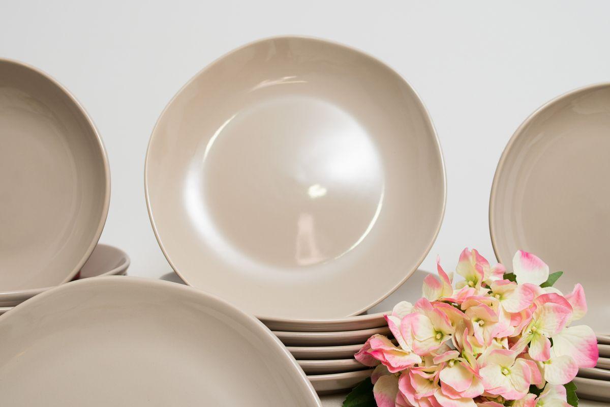 Набор обеденных тарелок из коллекции бежевой керамики Ritmo, 6 шт.  - фото