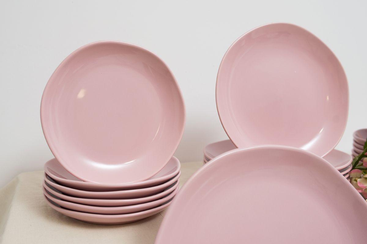 Тарелка десертная из розовой керамики Ritmo  - фото