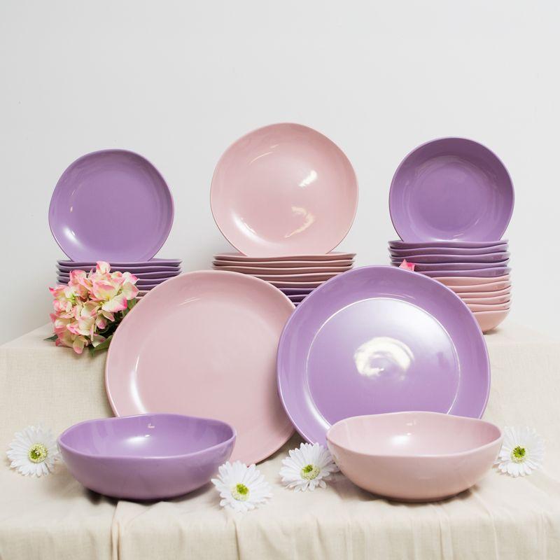 Набор обеденных тарелок из розовой керамики Ritmo 6 шт.  - фото