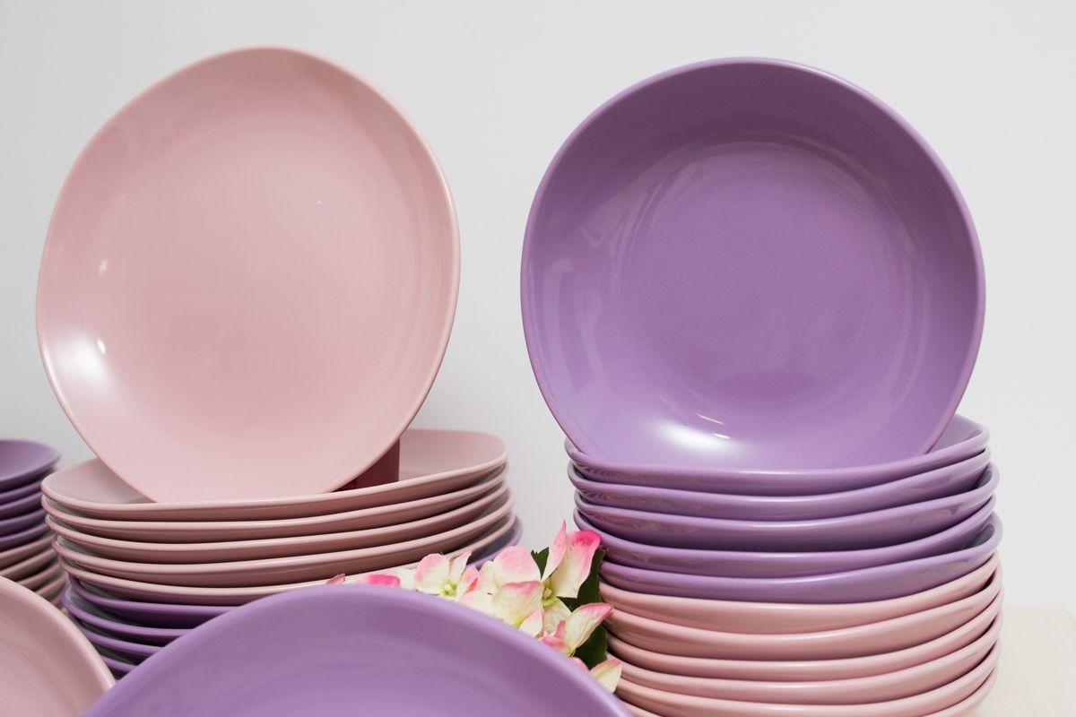 Столовый сервиз керамики розового и лавандового цвета на 12 персон Comtesse Milano  - фото